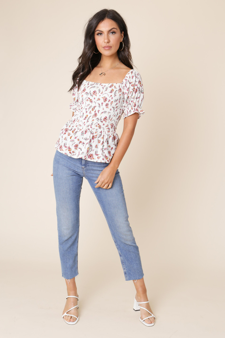 White Ditsy Floral Elastic Bodice Puff Sleeve Boho Top