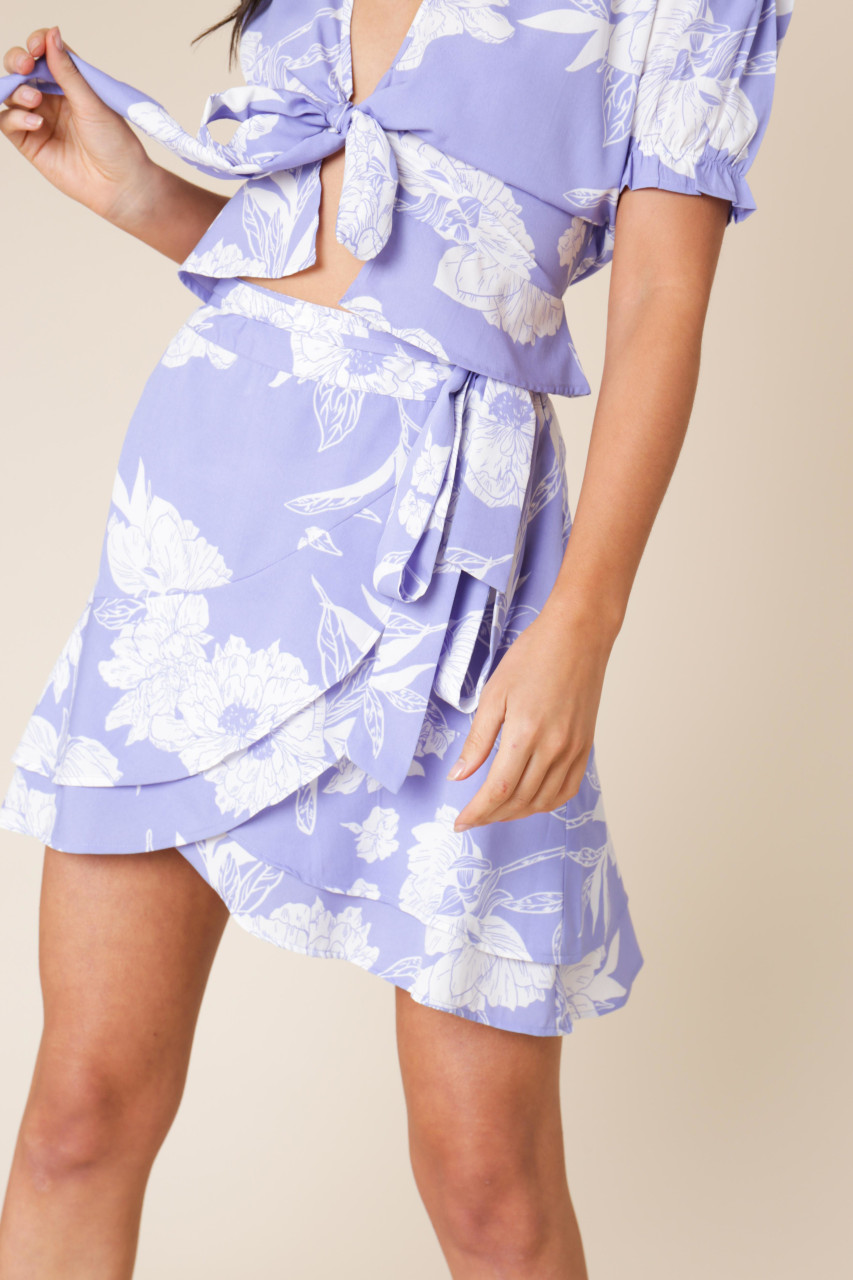Lilac Floral Print Wrap Skirt with Ruffle