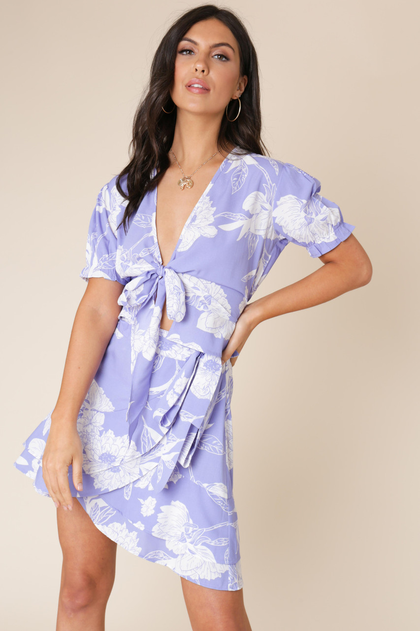 Blue Lilac Floral Print Tie Front Top with Puff Sleeve
