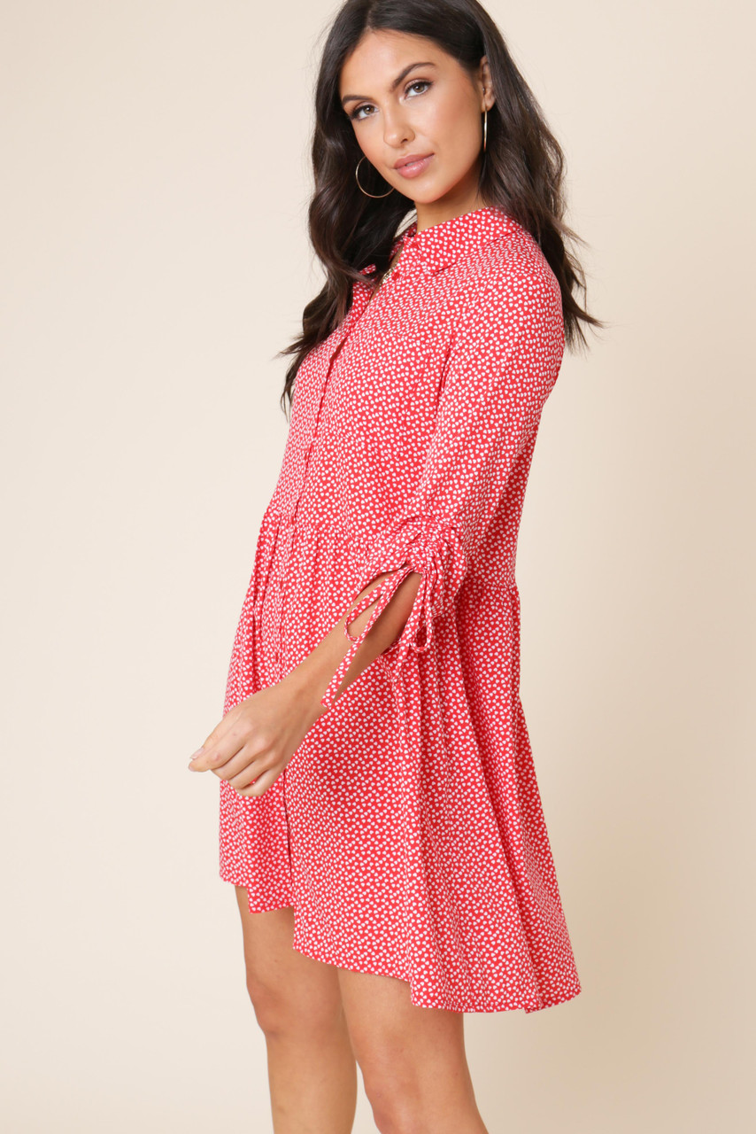 Red Heart Print Button Down Smock Shirt Dress