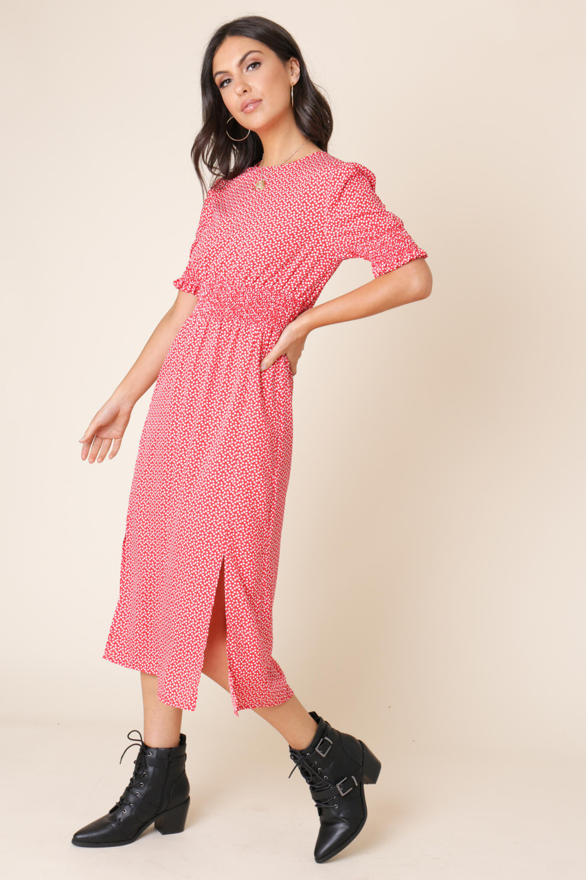 Red Heart Print Shirred Elastic Midi Dress with Splits