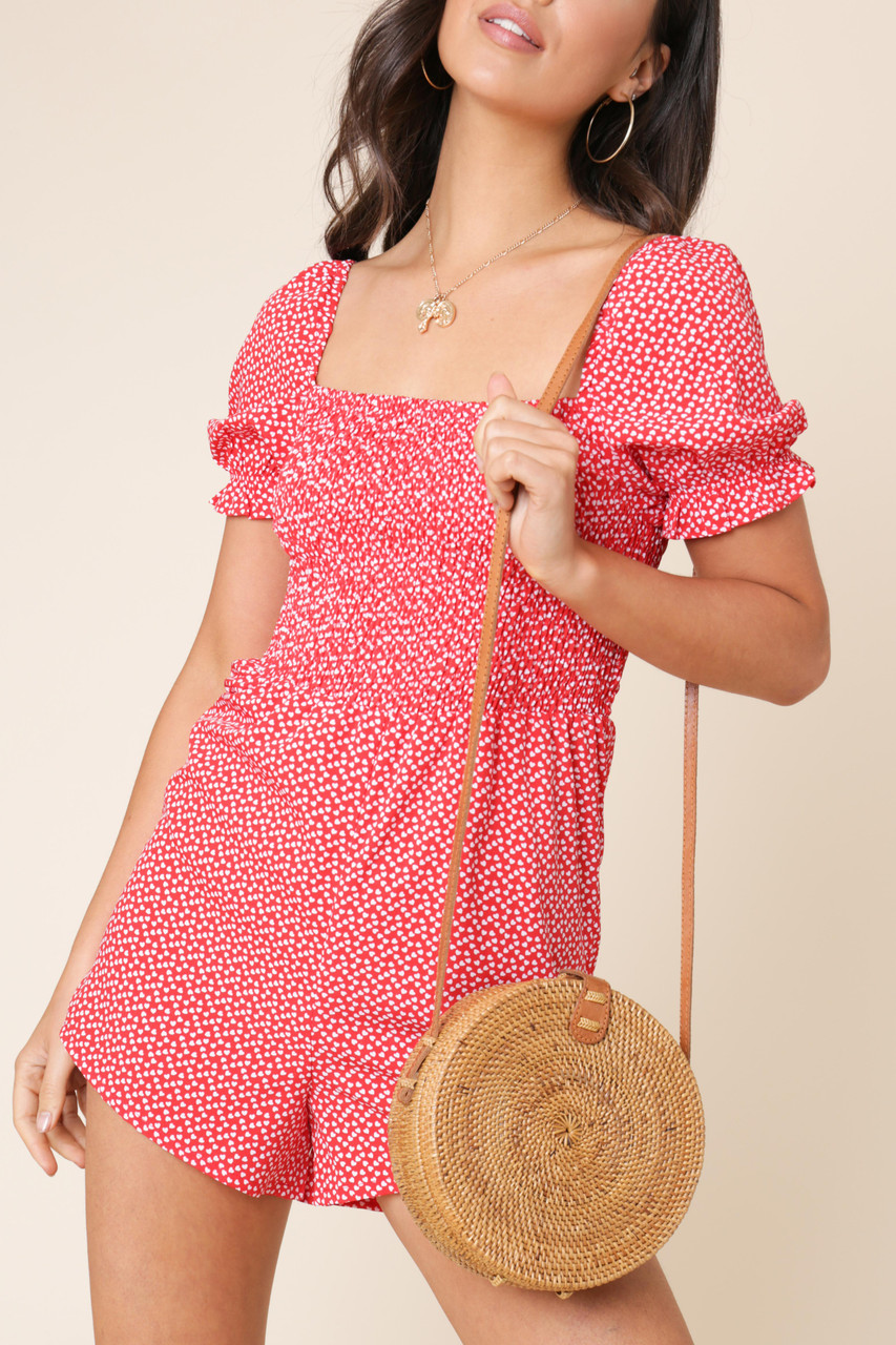 Red Heart Print Puff Sleeve Playsuit with Elastic Bodice