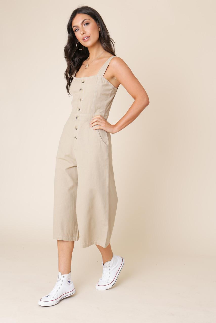 Stone Linen Cotton Button Down Strappy Jumpsuit