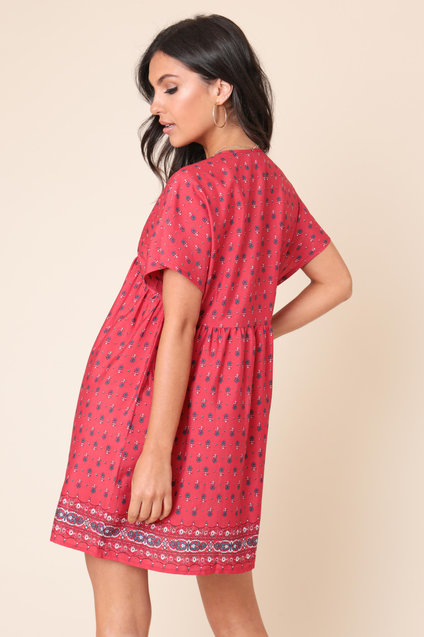 Pink Paisley Print Button Down Mini Smock Dress