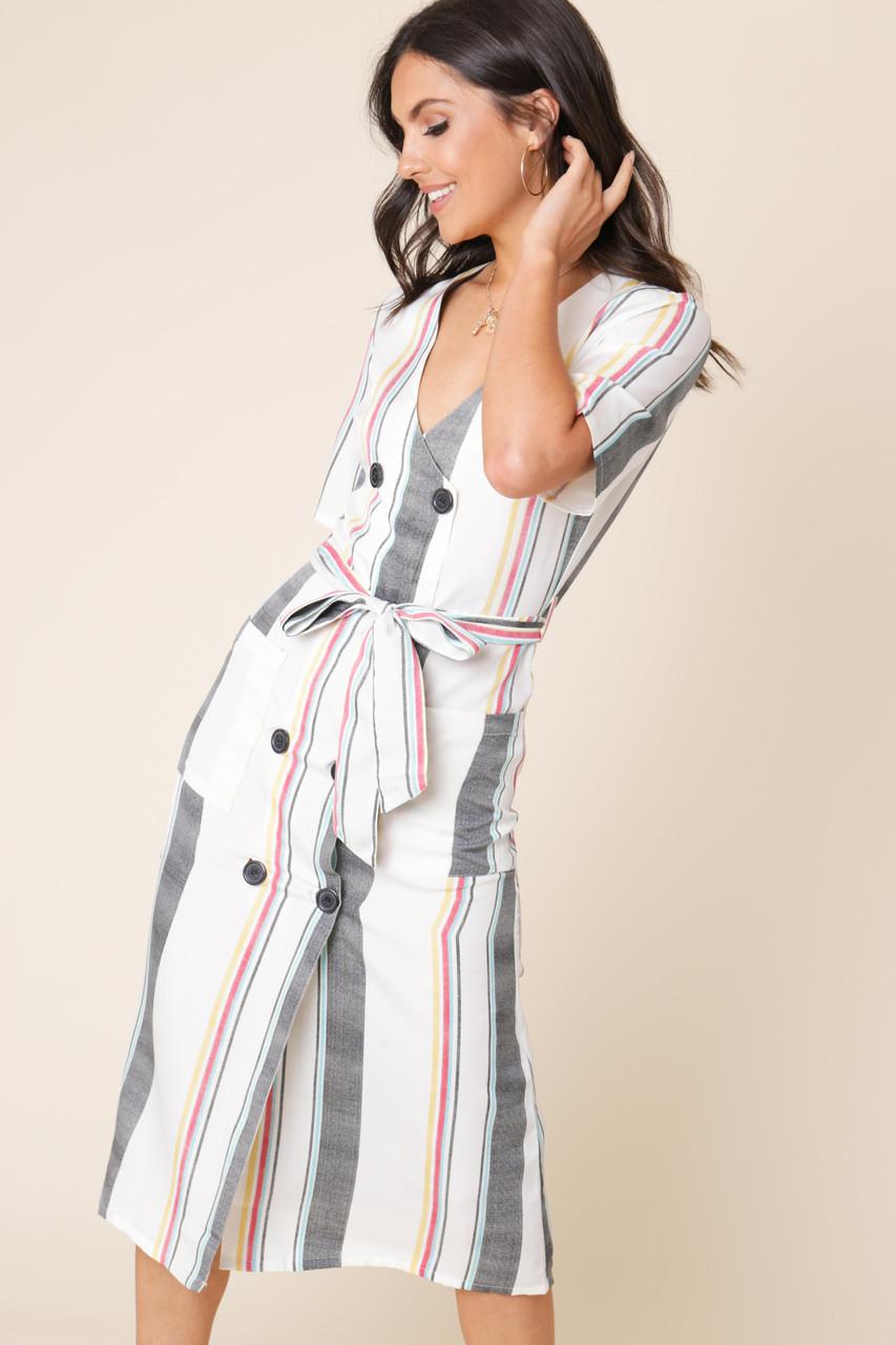 Multi Stripe Double Breasted Button Down Midi Dress