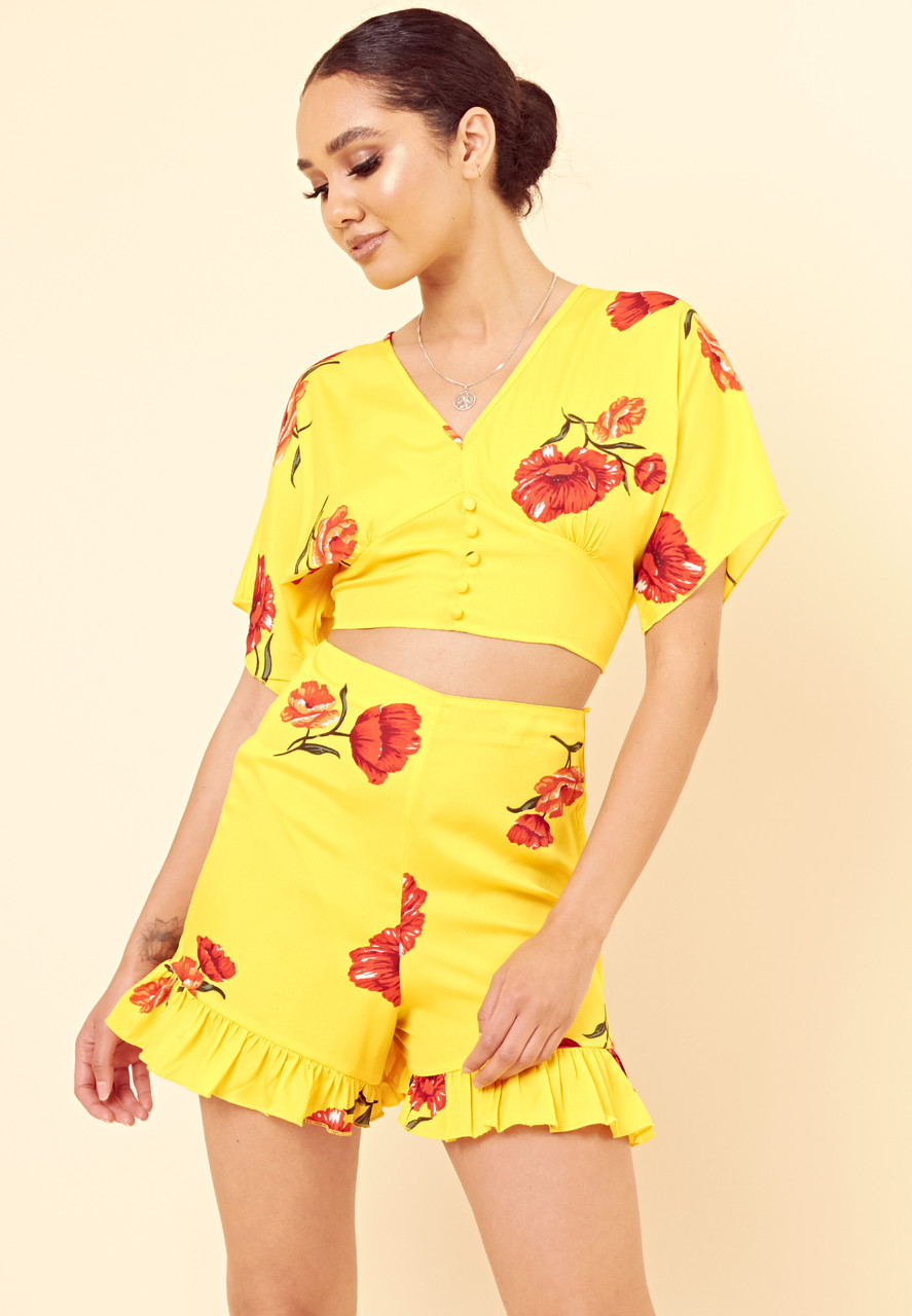 Yellow Floral Open Back Button Detail Crop Top