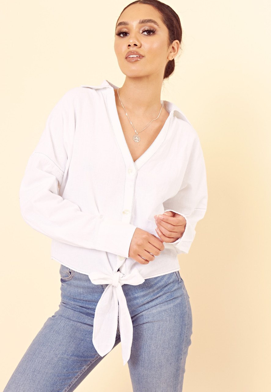 White Cotton Linen Tie Front Shirt with Dropped Shoulder