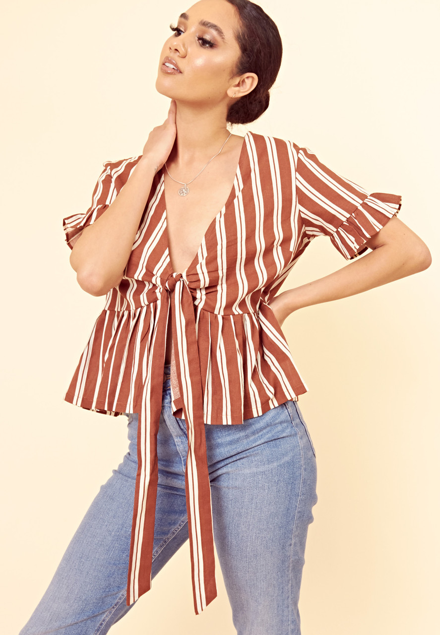 Brown Stripe Frill Sleeve Tie Front Peplum Top