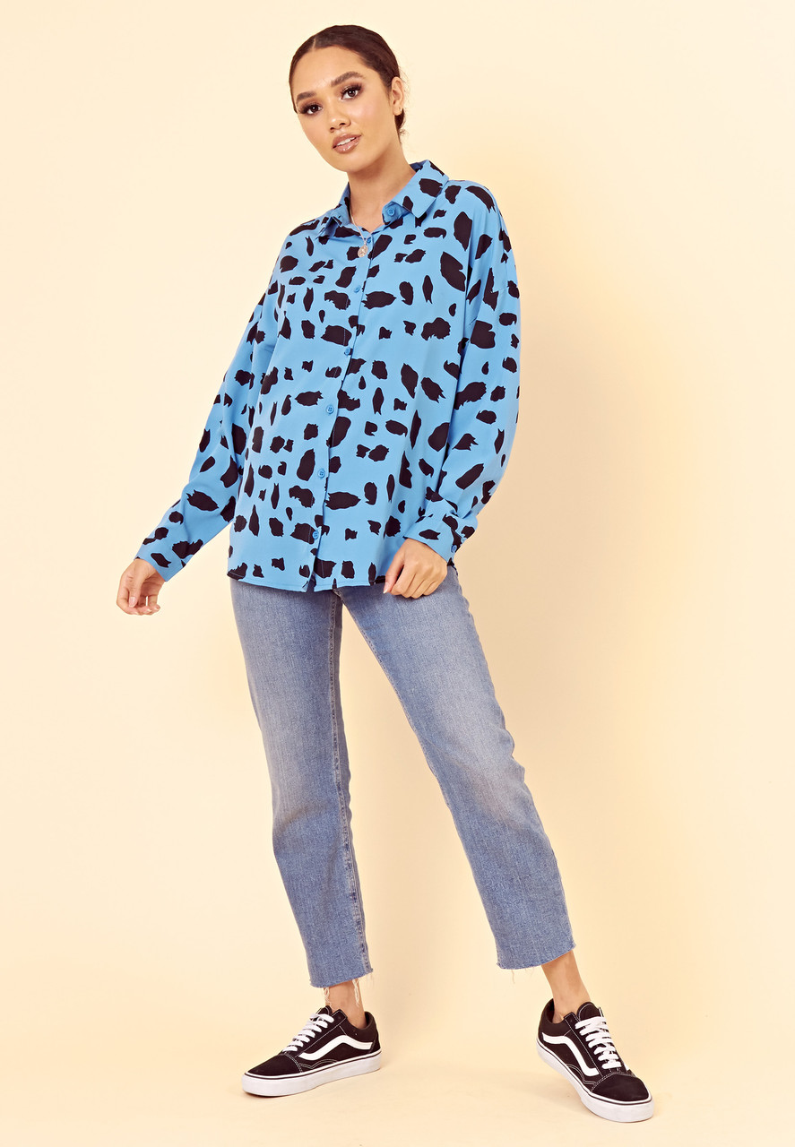 Blue Large Scale Dalmatian Oversized Shirt