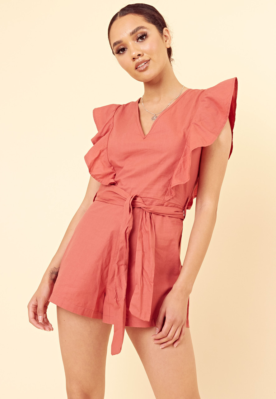 Coral Cotton Tie Front Extreme Frill Sleeve Playsuit