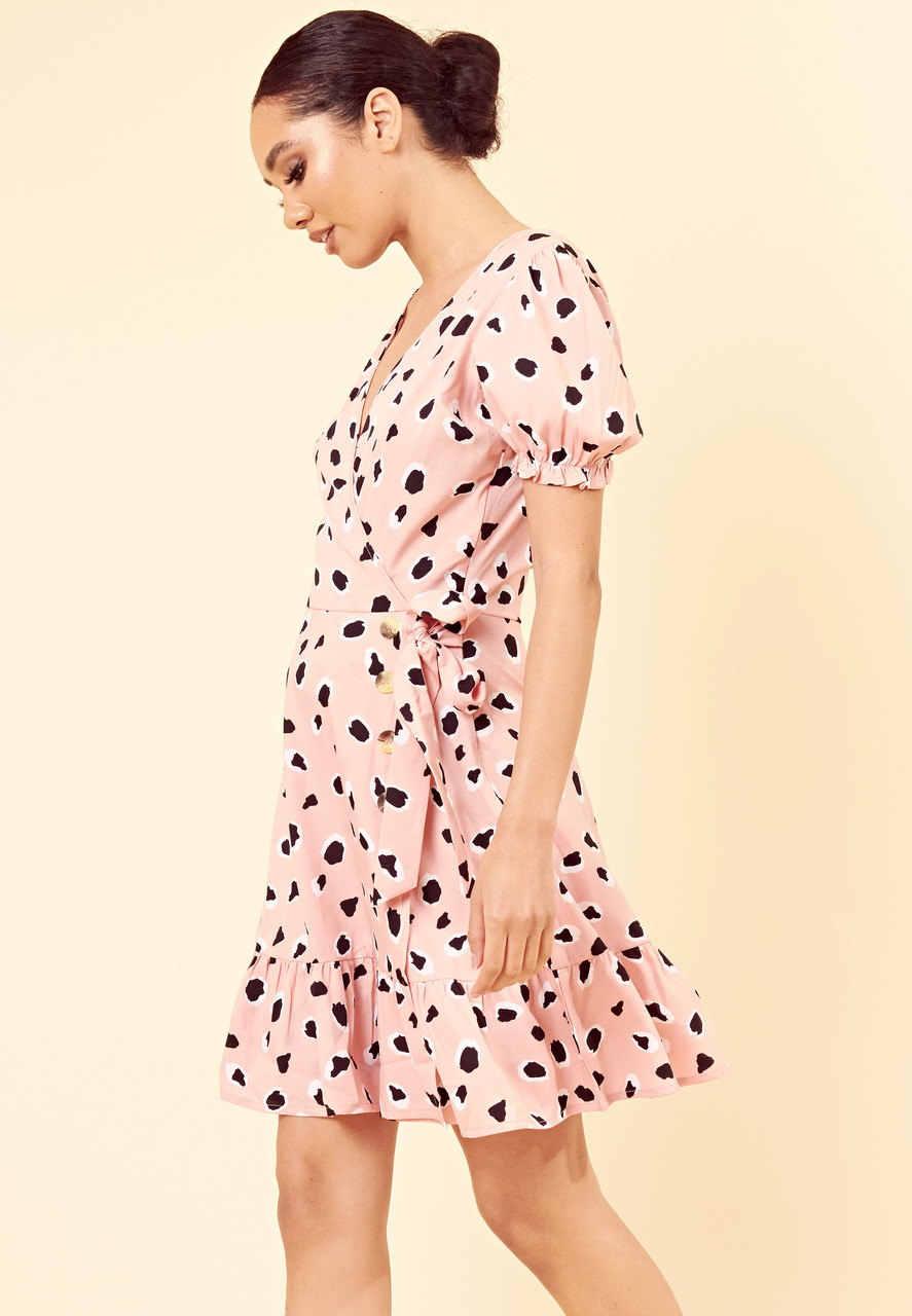 Pink Abstract Animal Print Puff Sleeve Wrap Dress with Ruffle Hem