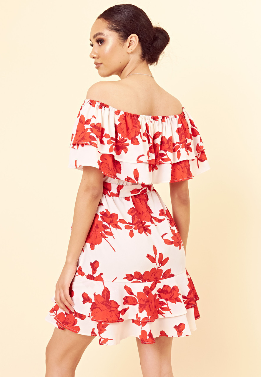White Red Floral Bardot Ruffle Hem Mini Dress with Belt