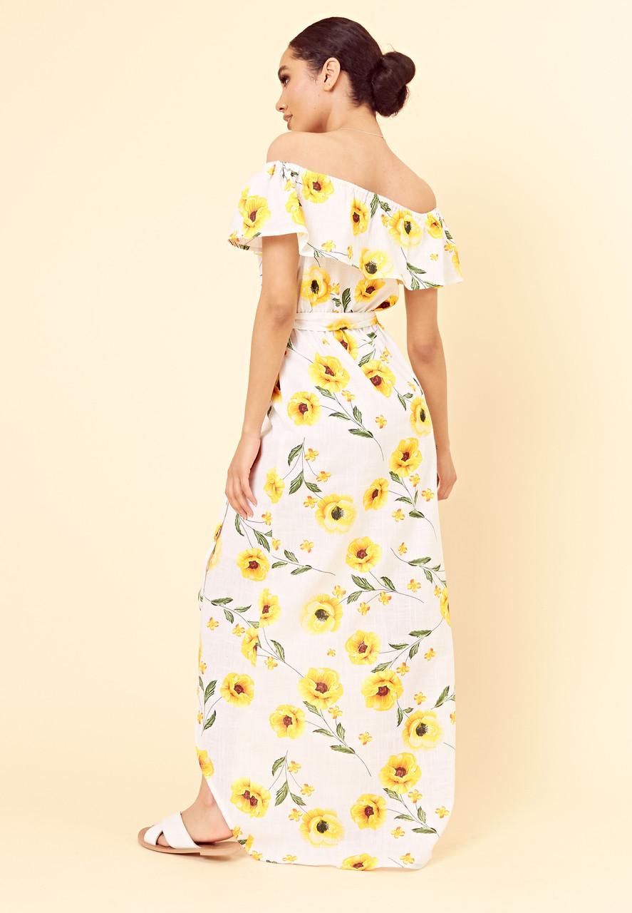 White Yellow Summer Floral Bardot Maxi Dress