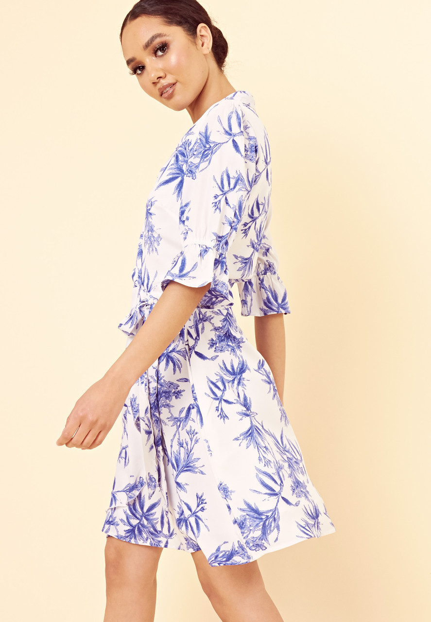 White Blue Floral Frill Sleeve Wrap Dress