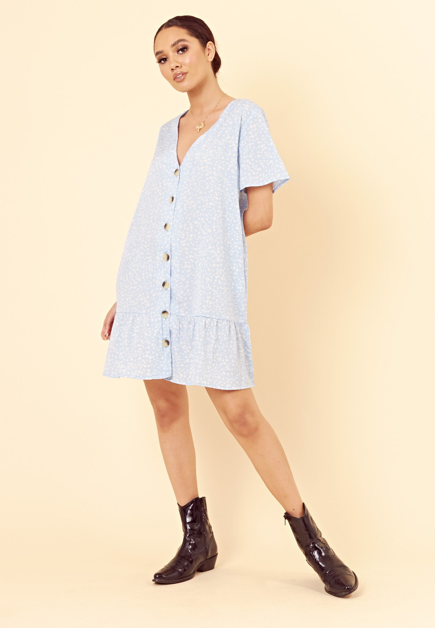 Blue Ditsy Floral Button Down Frill Hem Smock Dress