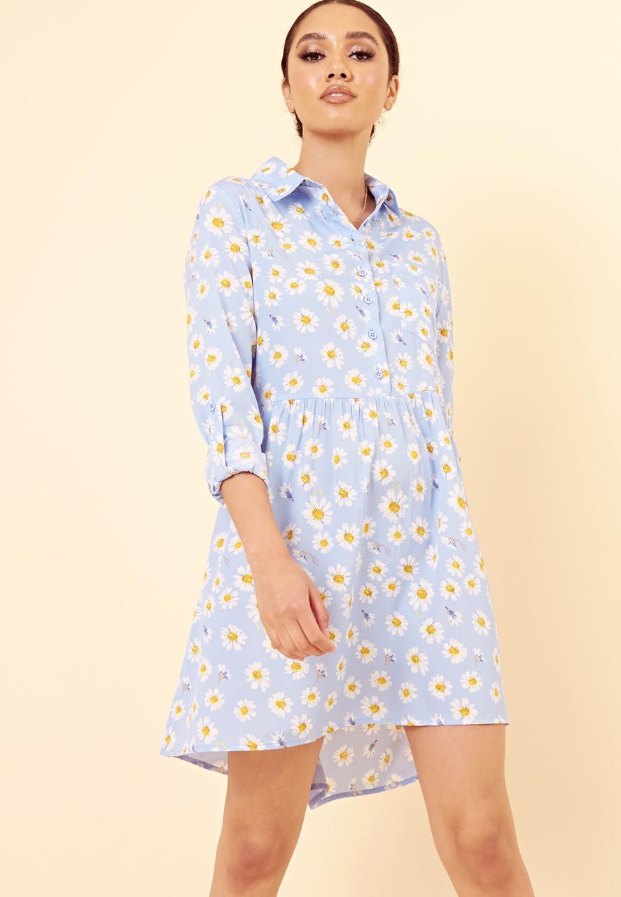 Blue Daisy Floral Dipped Hem Shirt Dress