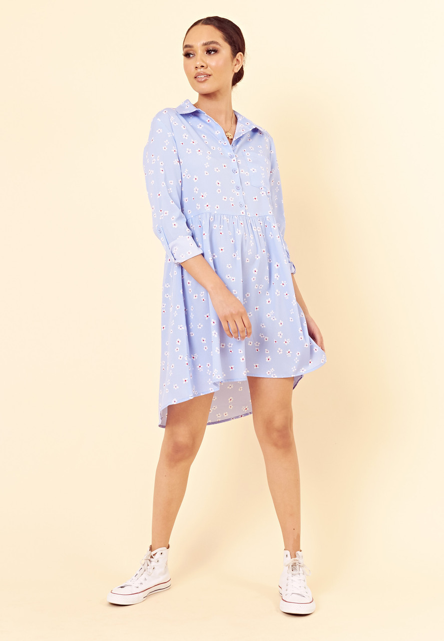 Blue Red Ditsy Floral Dipped Hem Shirt Dress
