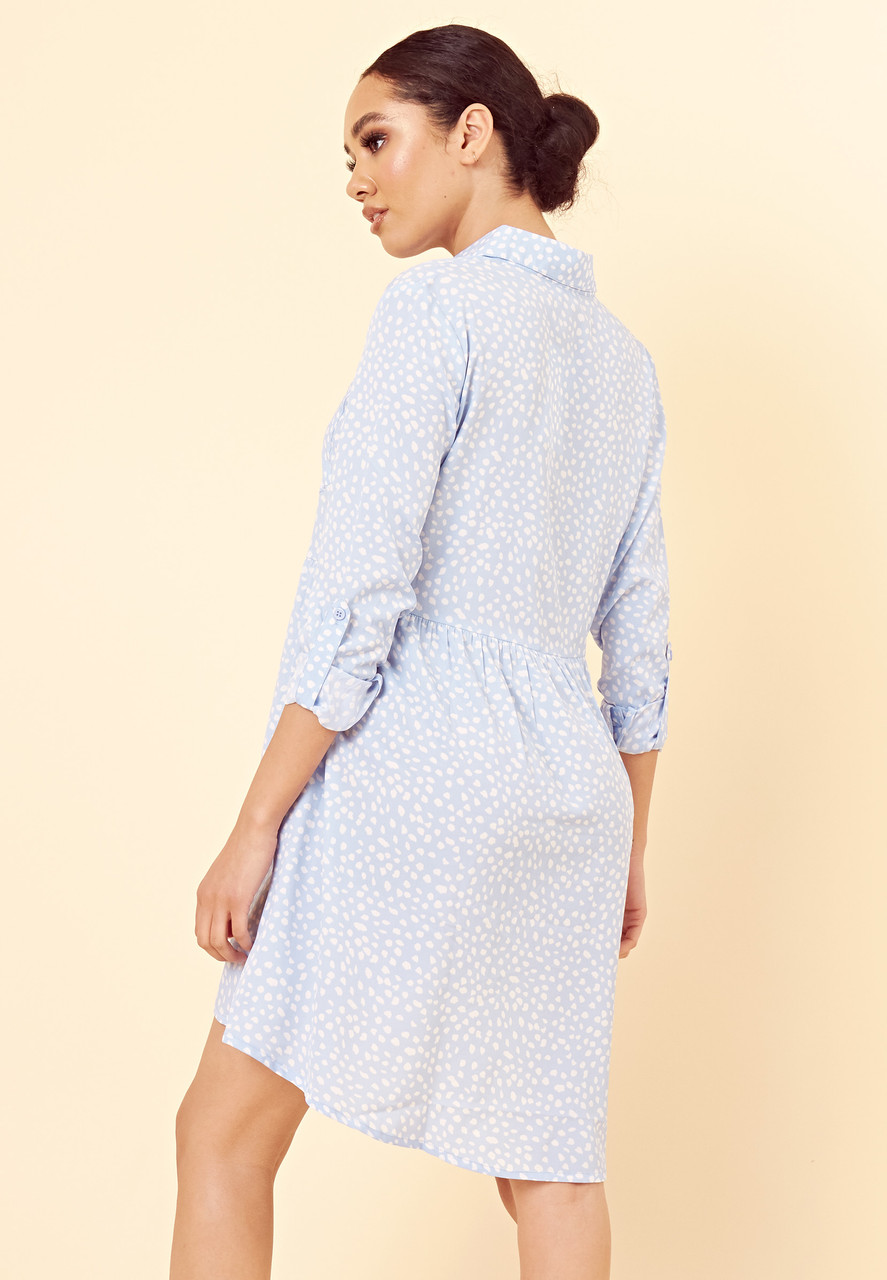 Blue White Spot Floral Dipped Hem Shirt Dress