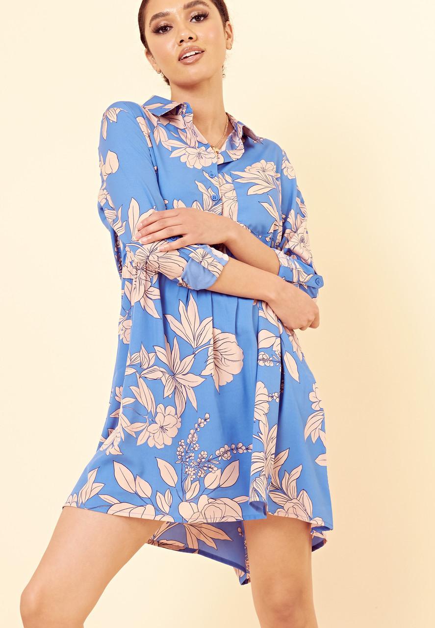 Blue Large Floral Dipped Hem Shirt Dress