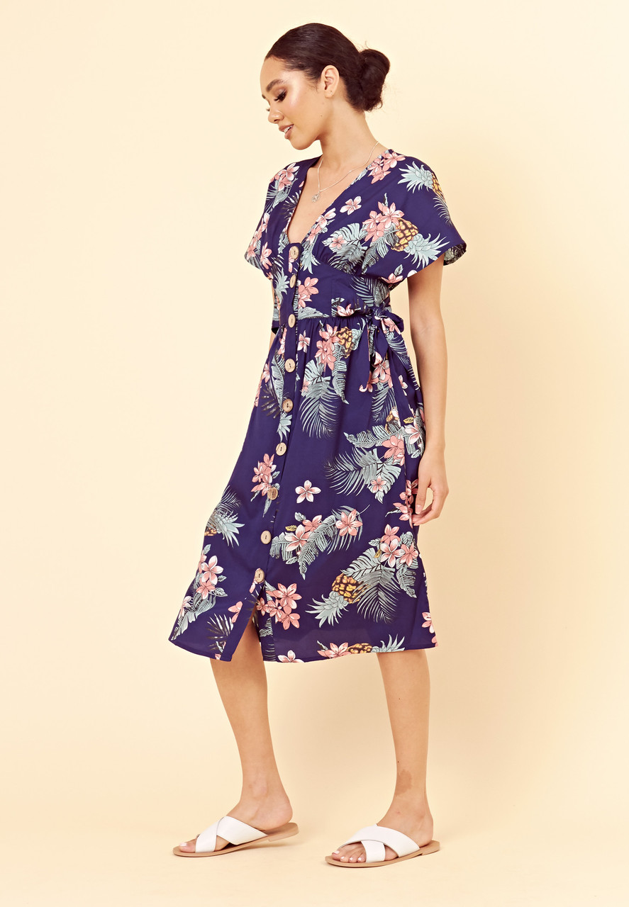 Navy Floral Button Through Midi Dress with Tie Belt