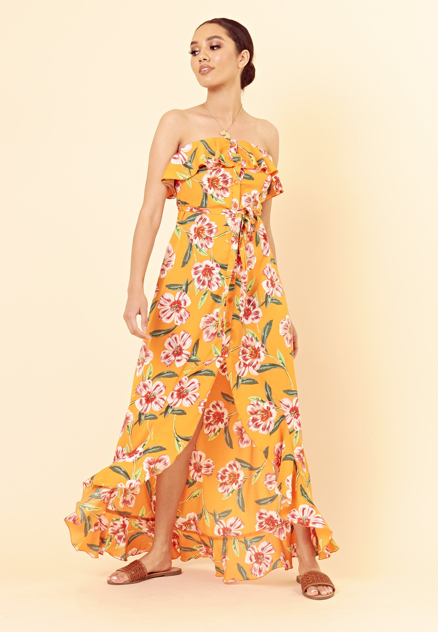Orange Floral Bardot Bandeau Button Down Maxi Dress with Frill