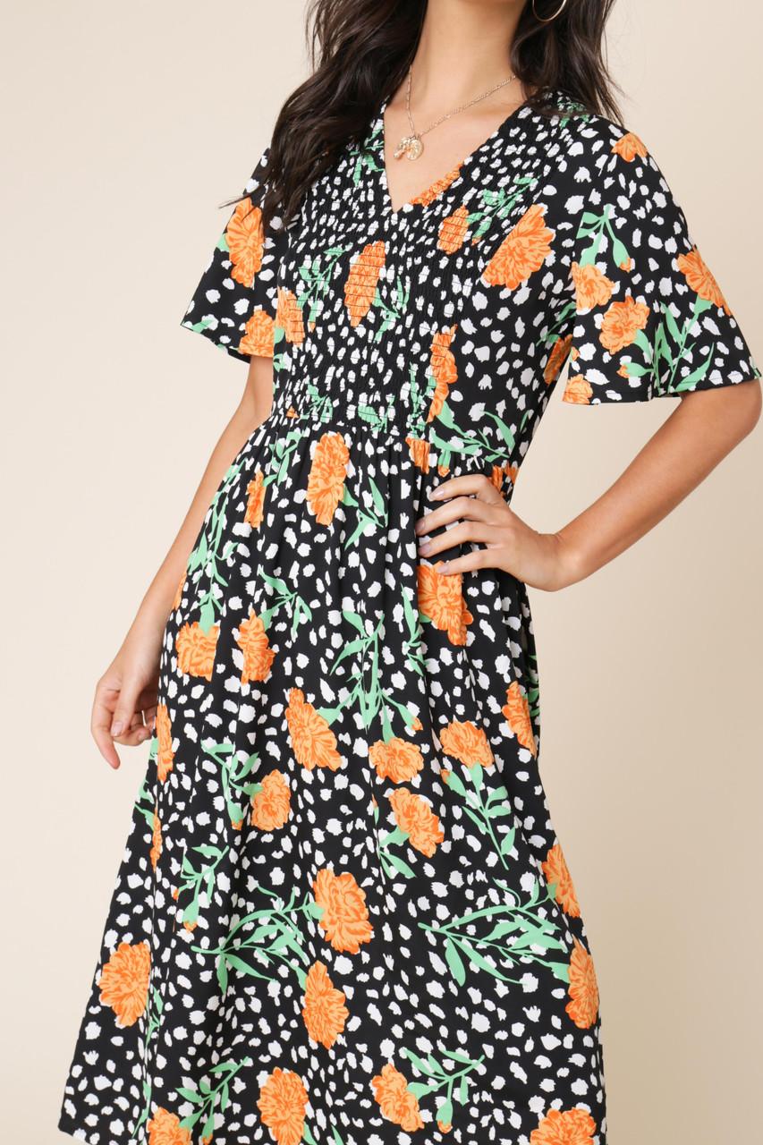 Black Floral Print Shirred Elastic Front Flared Sleeve Midi Dress