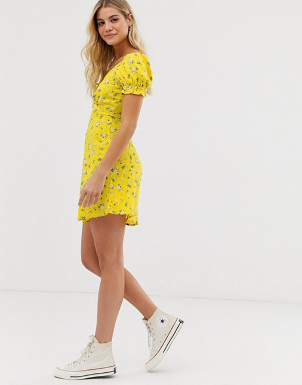 Yellow Ditsy Floral Print Puff Sleeve Mini Dress