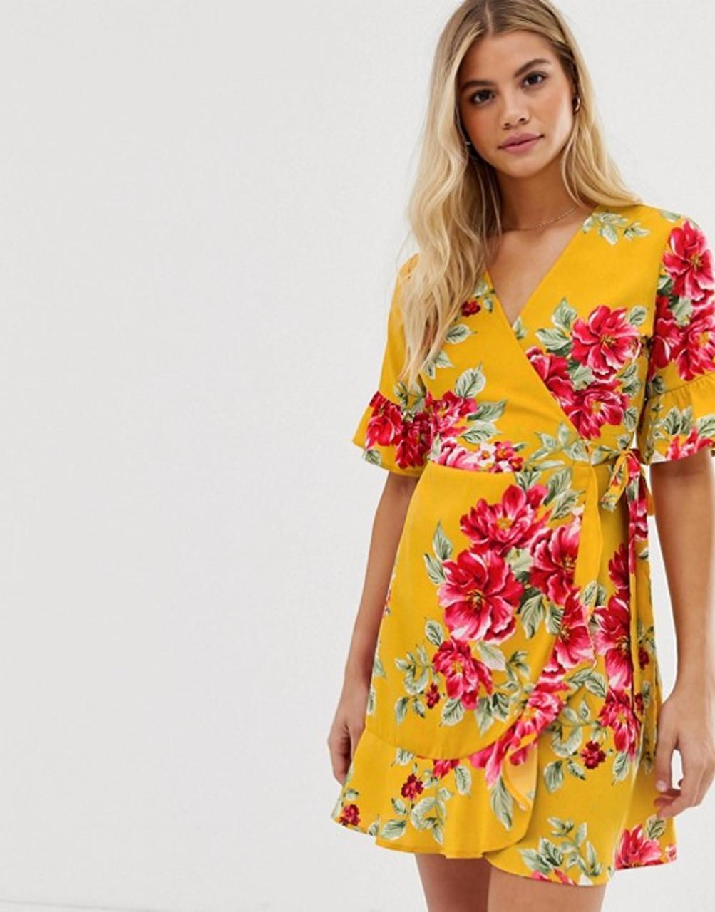 Yellow Floral Print Wrap Frill Hem Mini Dress