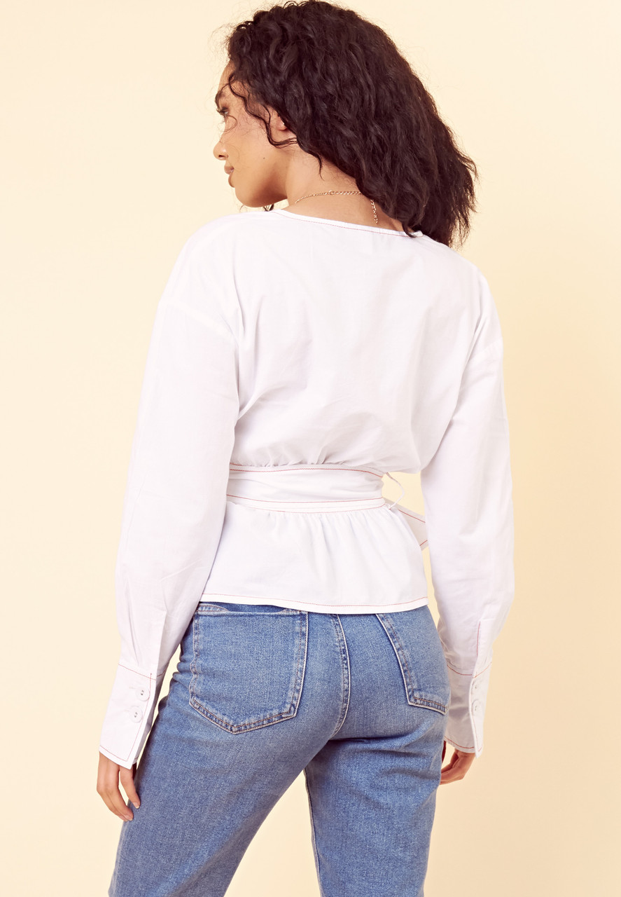Wrap Belted Contrast Stitch Blouse