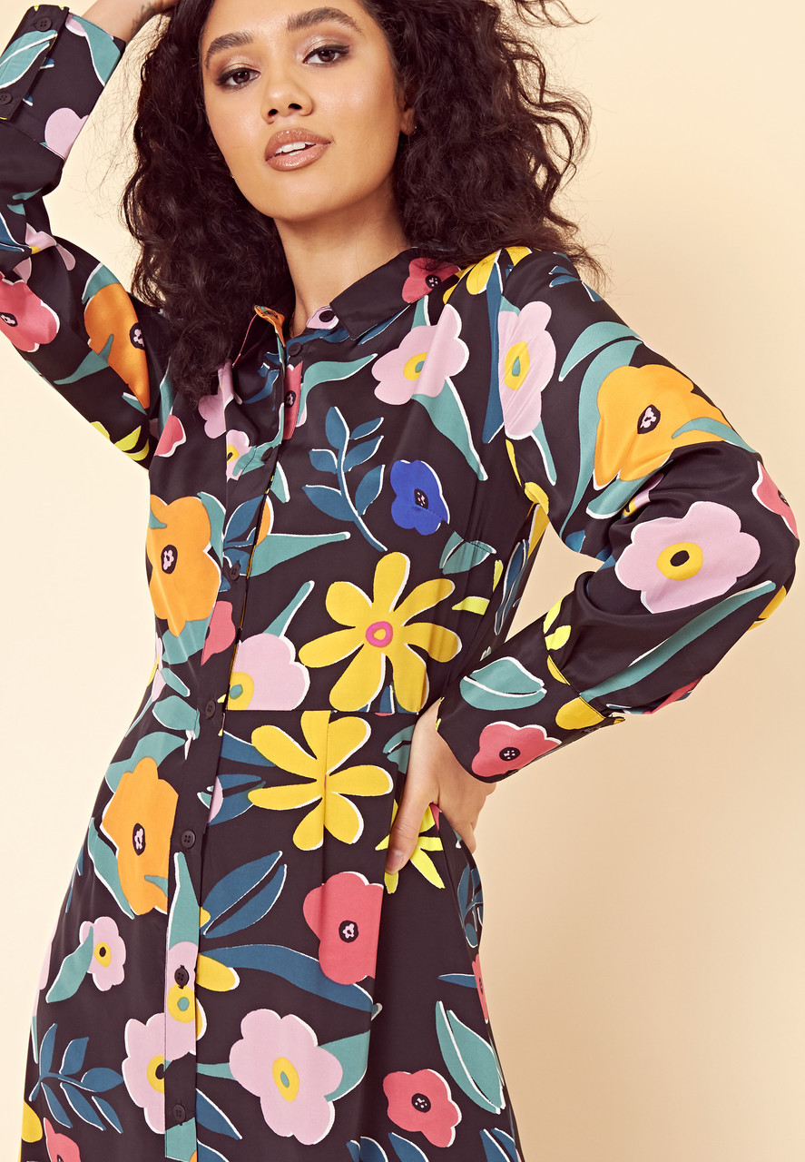 Retro Floral Maxi Shirt Dress