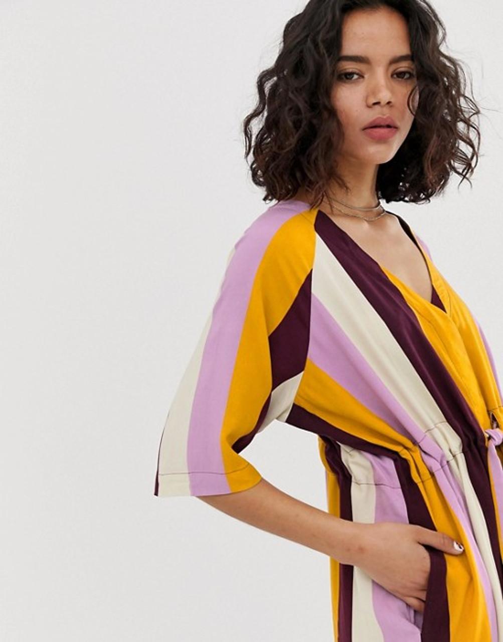 Tie Waist Stripe V Neck Midi Dress