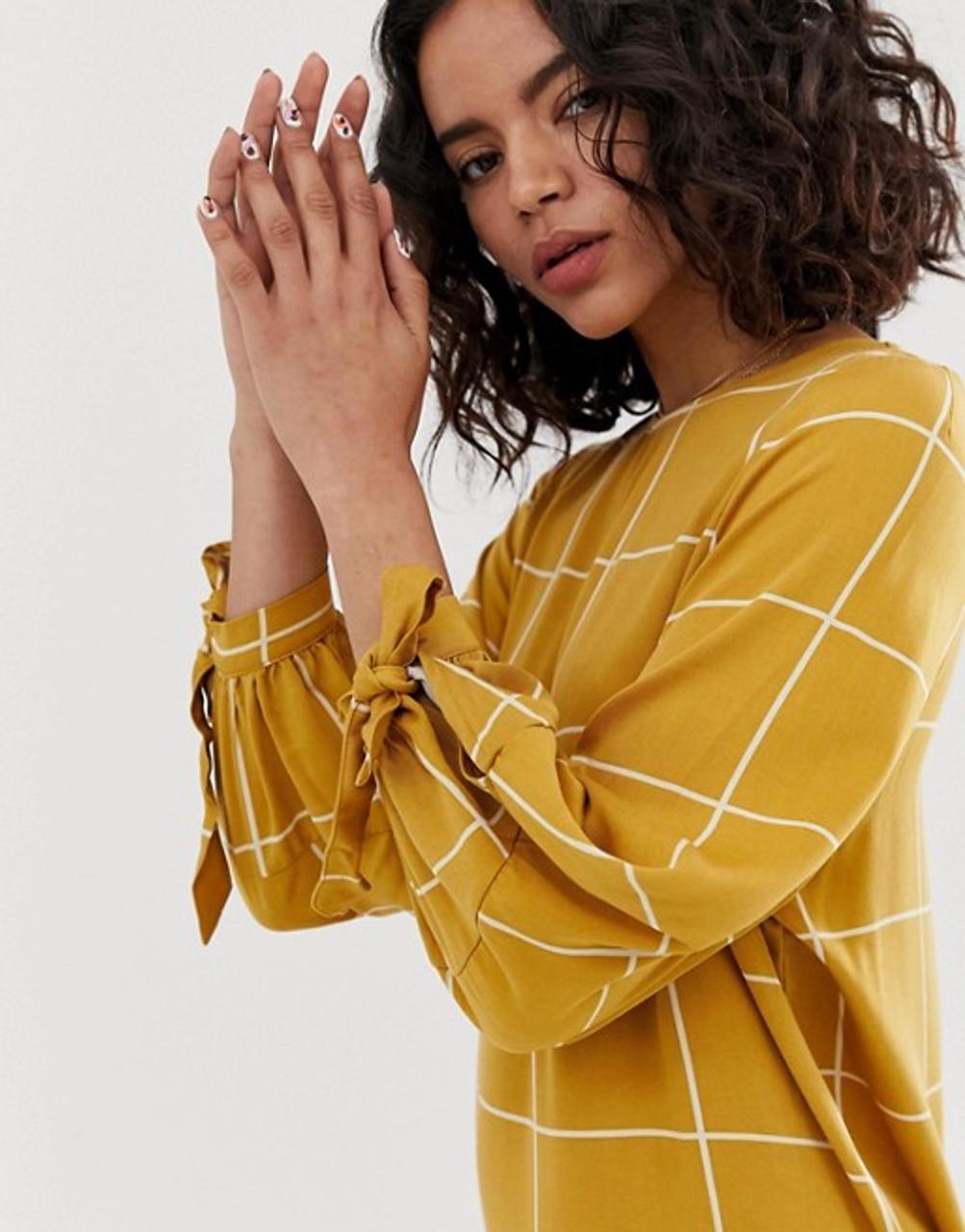 Grid Check Print Tie Sleeve Midi Dress