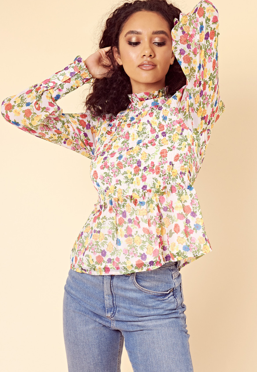 Multi Ditsy Floral High Neck Ruffle Top