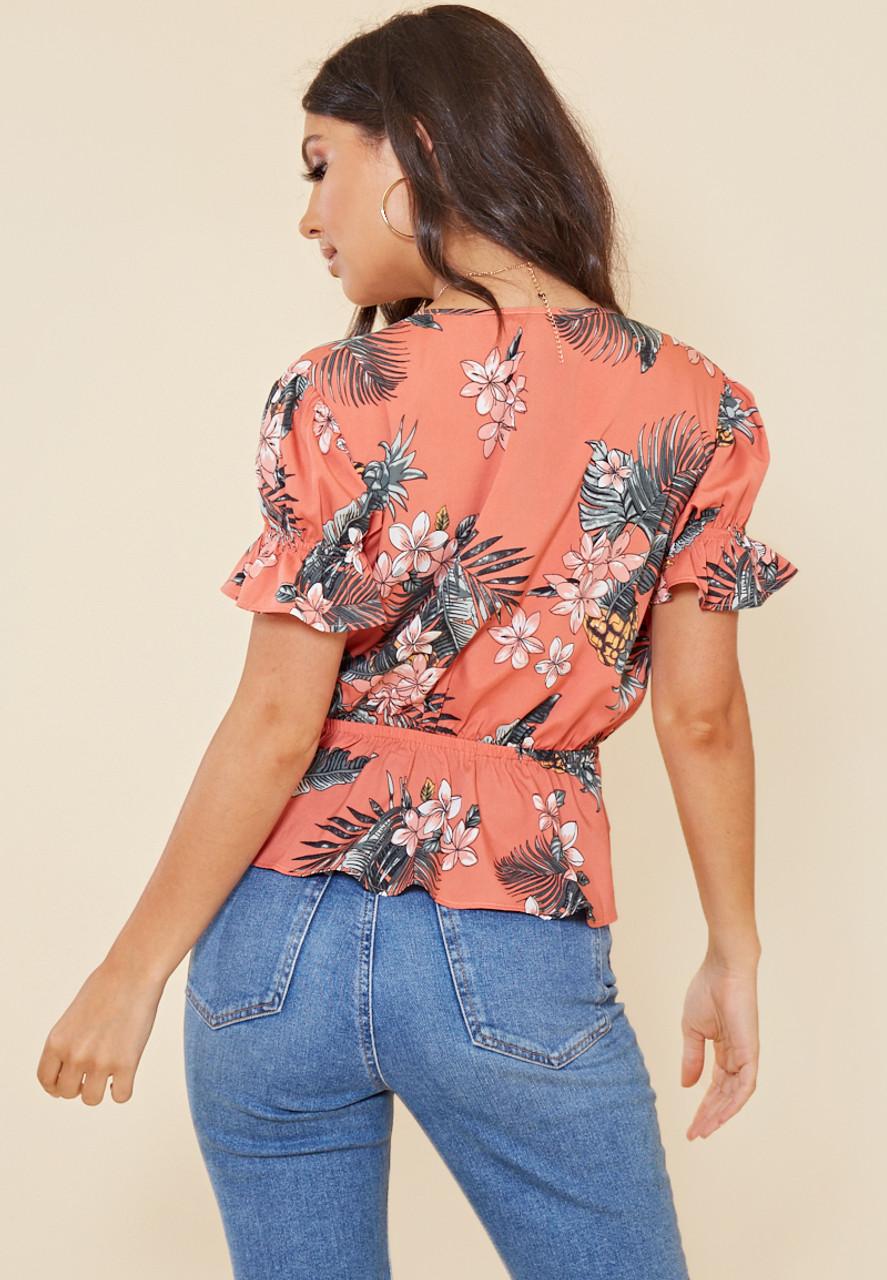 Coral Tropical Print Tie Front Peplum Hem Top