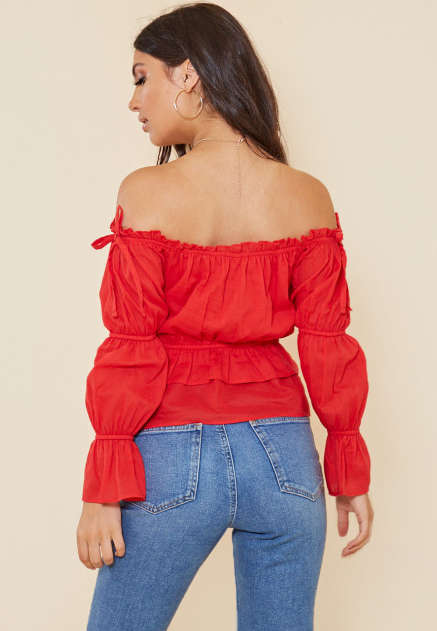 Red Cotton Bardot Top with Shirred Puff Sleeve
