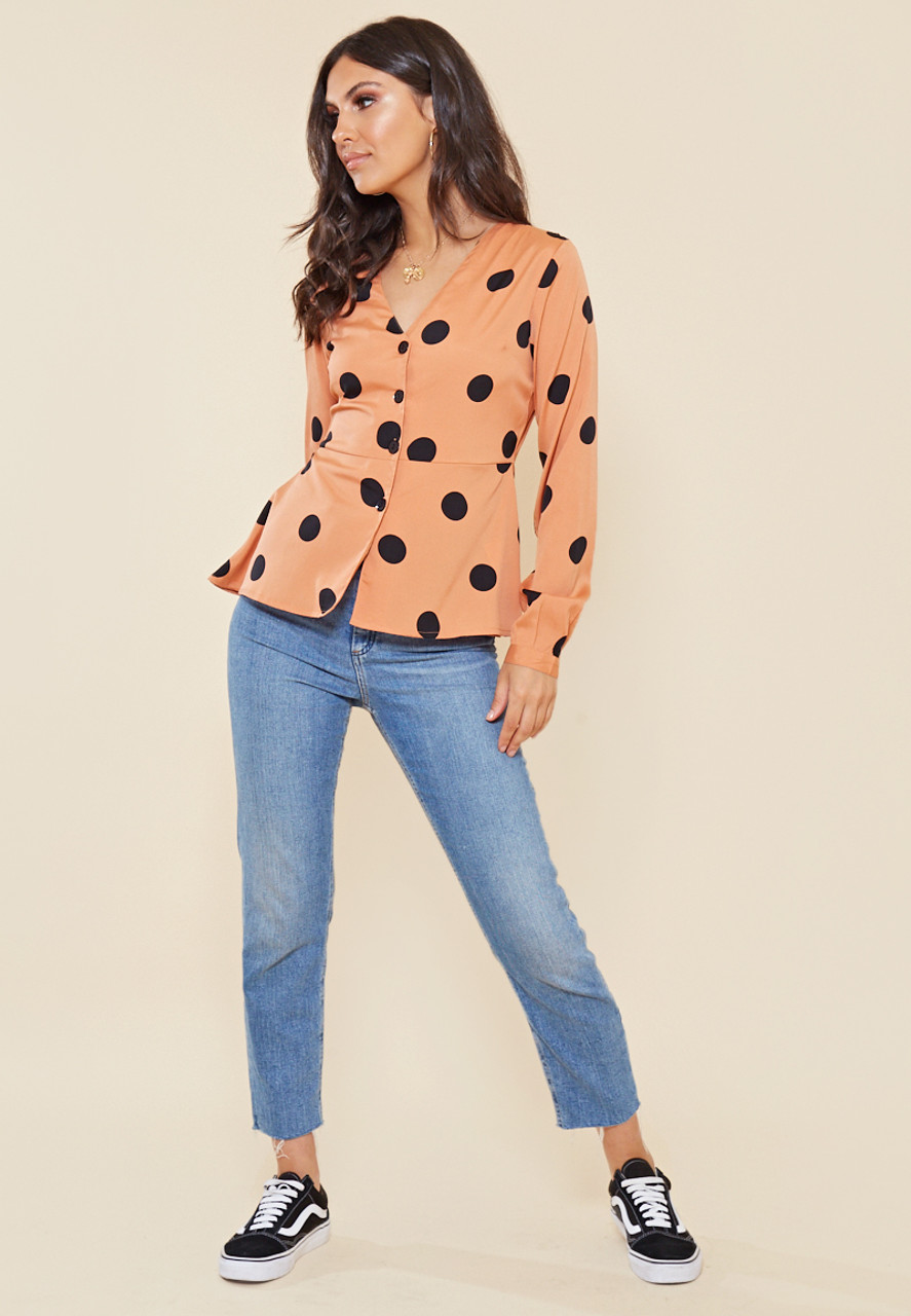 Rust and Black Spot Button Front Tea Blouse