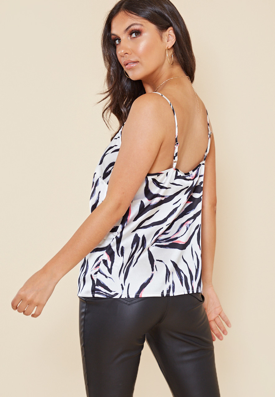 Satin Abstract Animal Print Strappy Cami Top