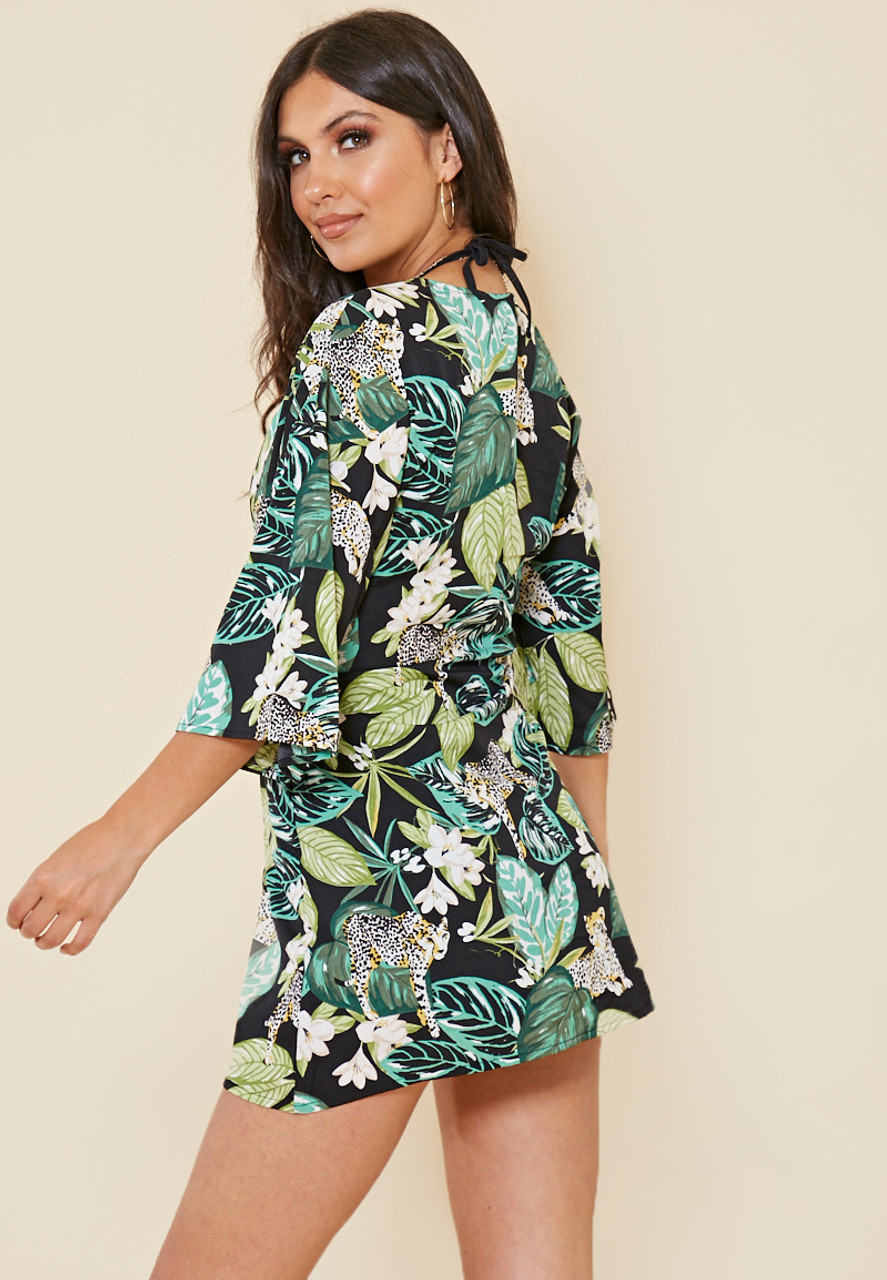 Tropical Animal Print Beach Kimono Cover Up