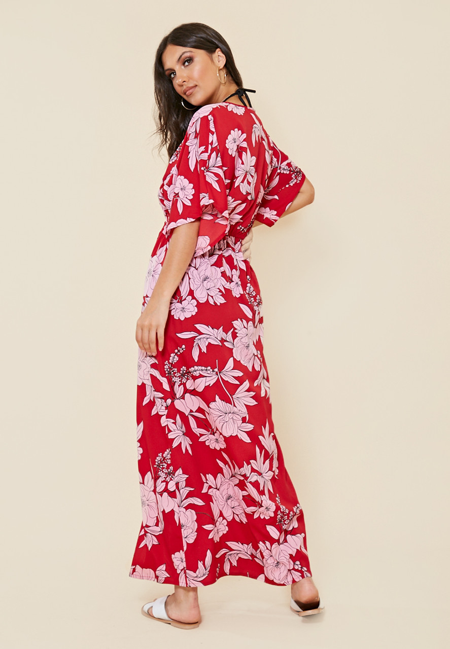 Red Floral Tie Waist Maxi Length Kimono Cover Up