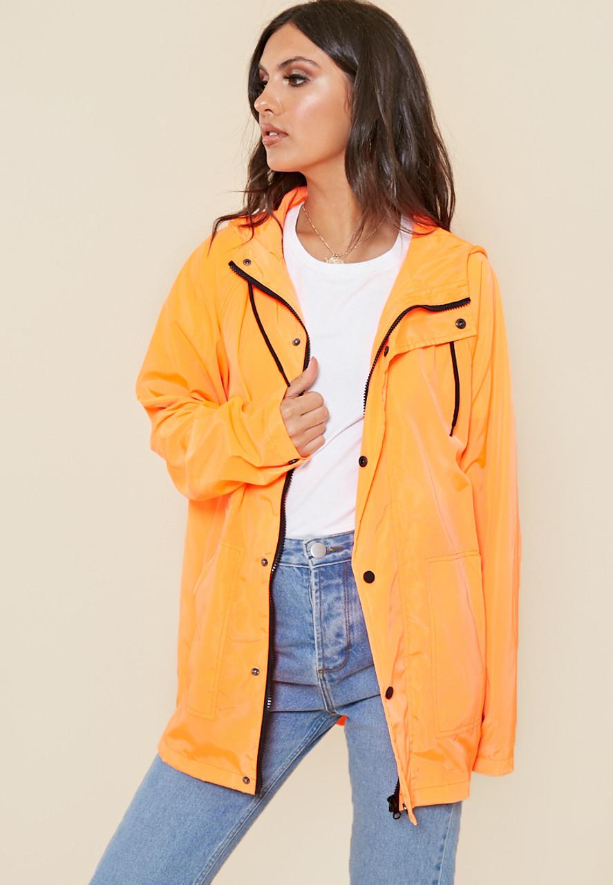 Neon Orange Waterproof Oversized Jacket