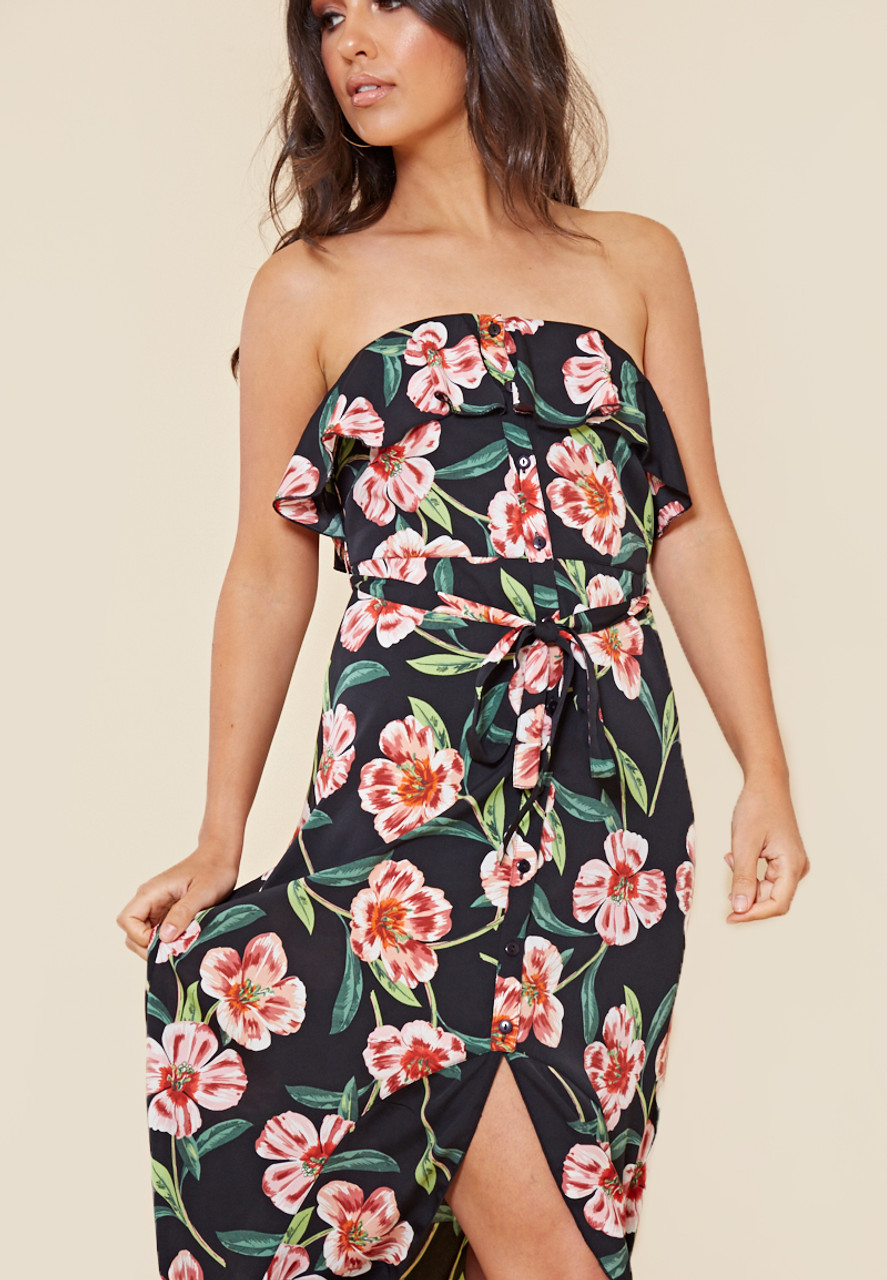Black Floral Bardot Bandeau Button Down Maxi Dress with Frill