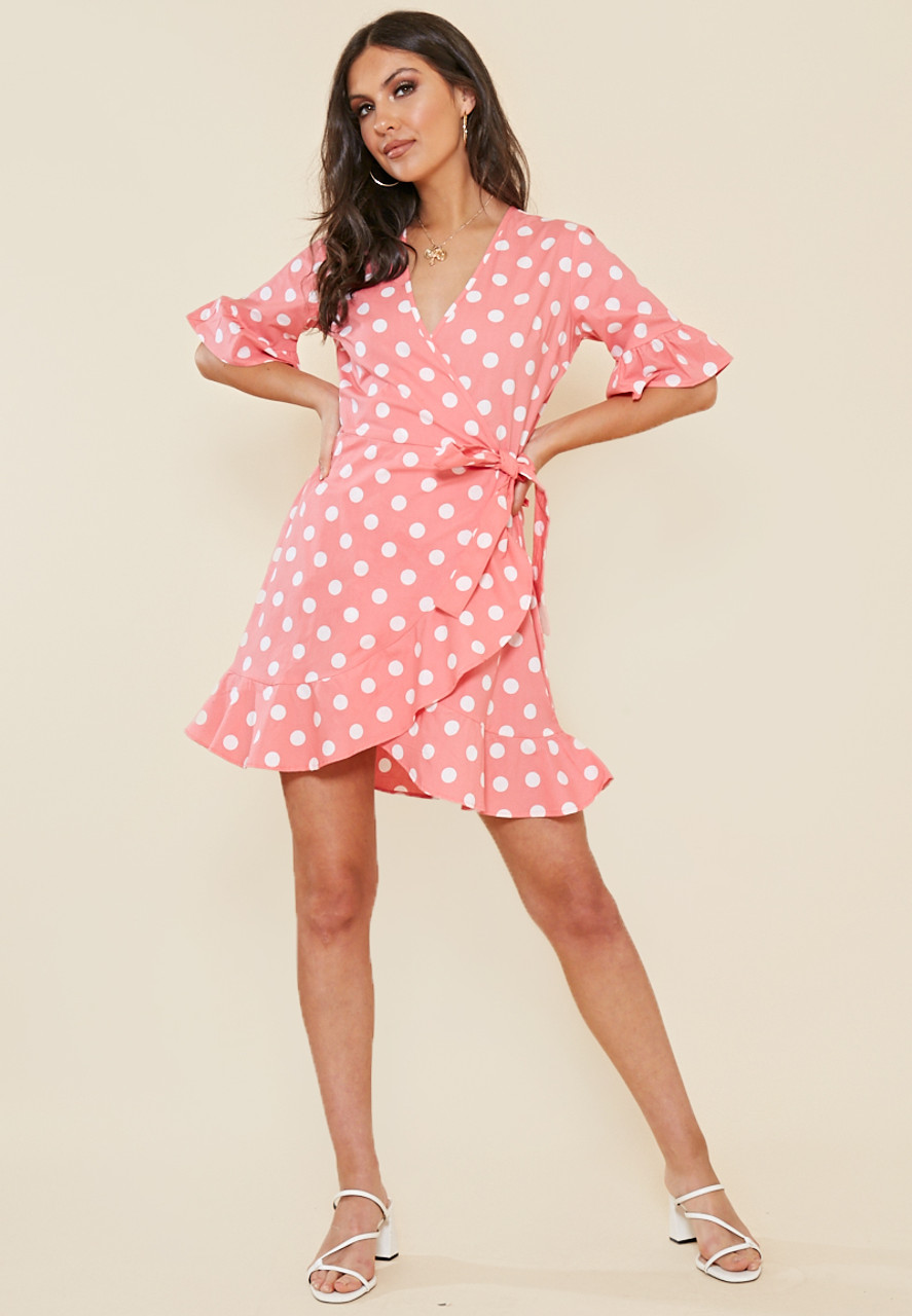 Pink and White Spot Wrap Frill Hem Mini Dress