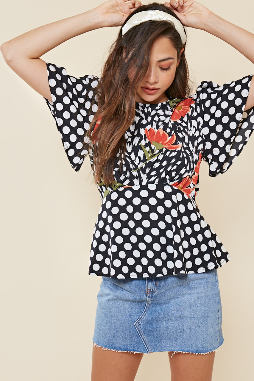 Mix and Match Floral Print Angel Sleeve Tea Blouse