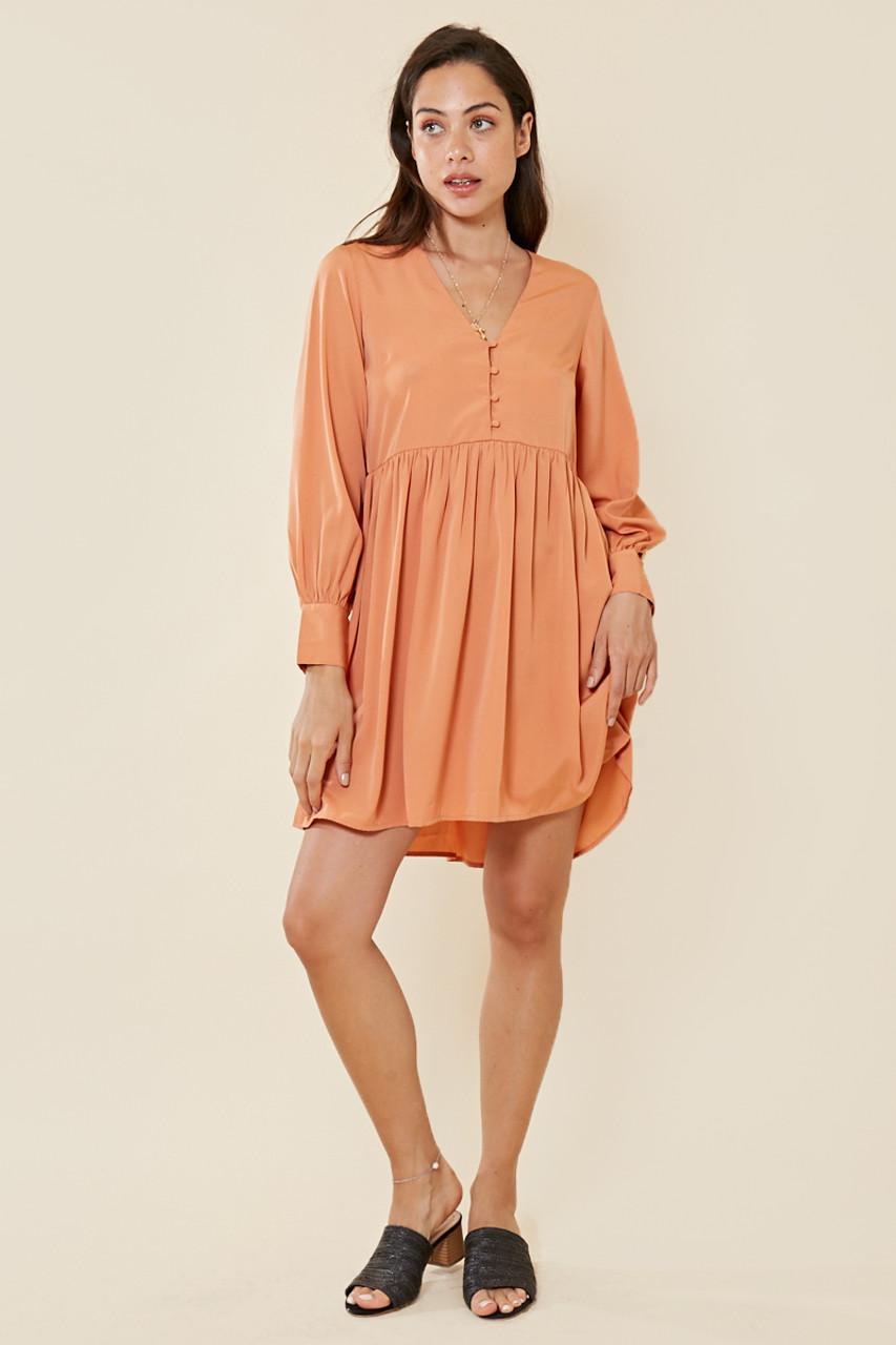 Apricot Button Detail Smock Dress