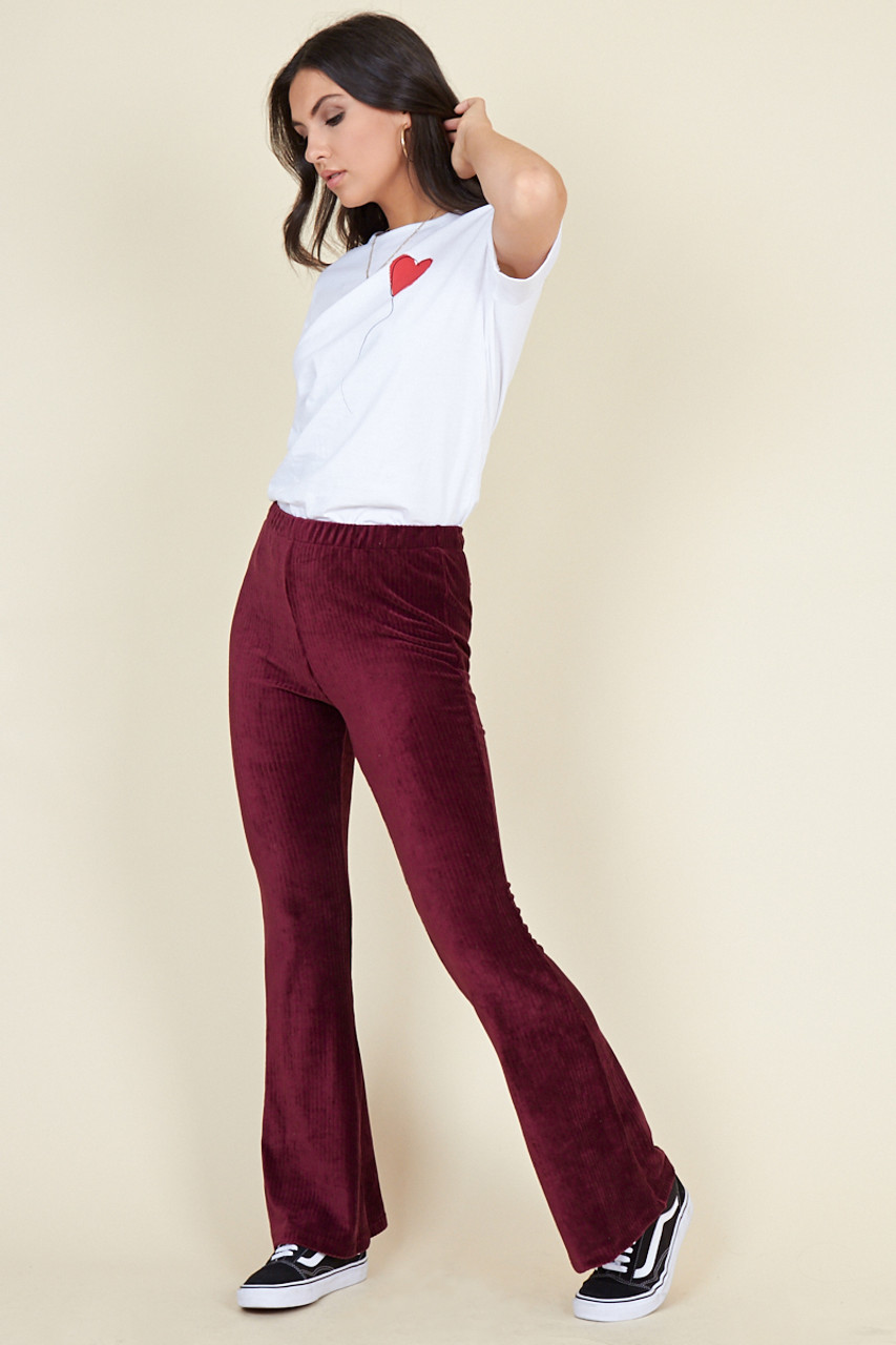 Wine Ribbed Velvet Flared Trousers