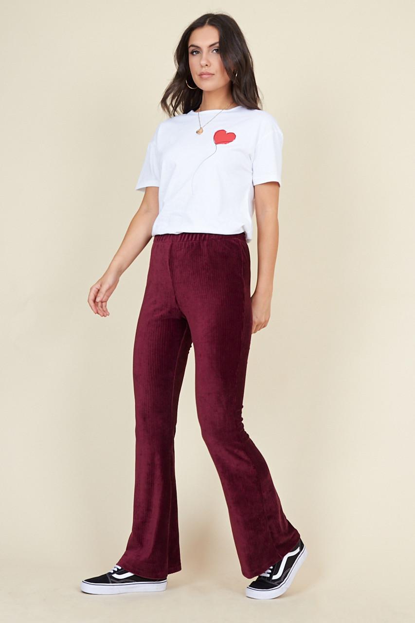 Wine Ribbed Velvet Flared Trousers