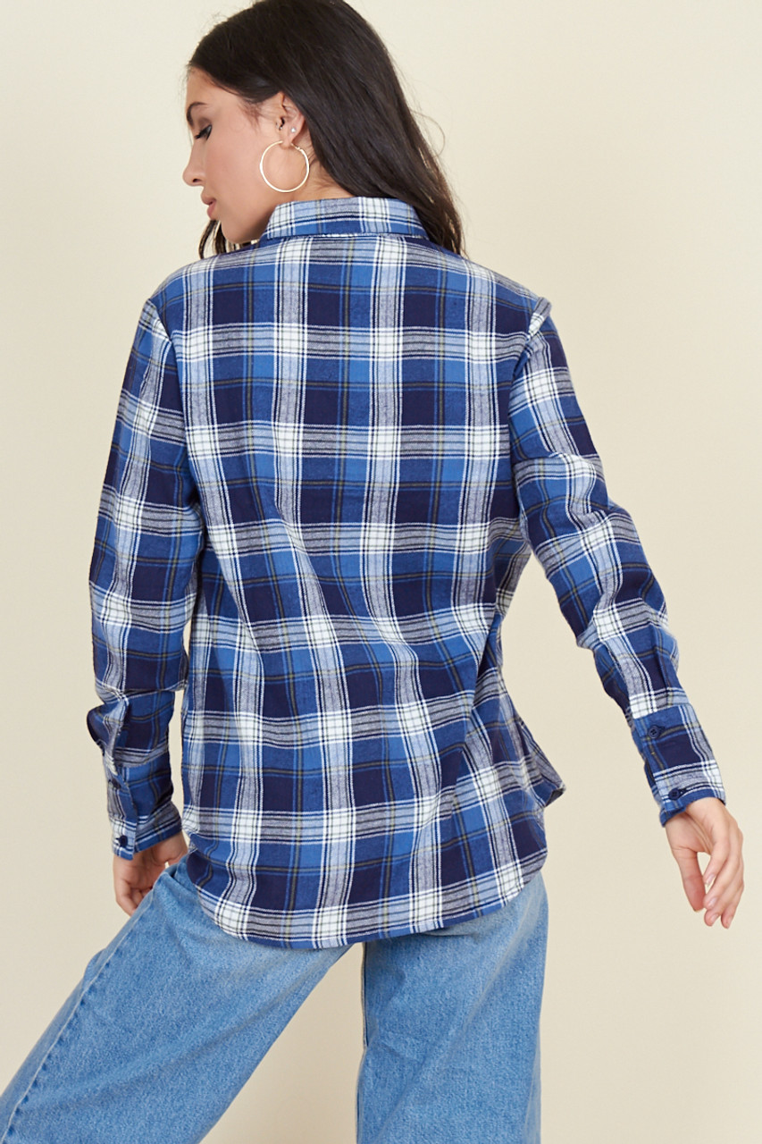 Blue Check Long Sleeve Boyfriend Shirt