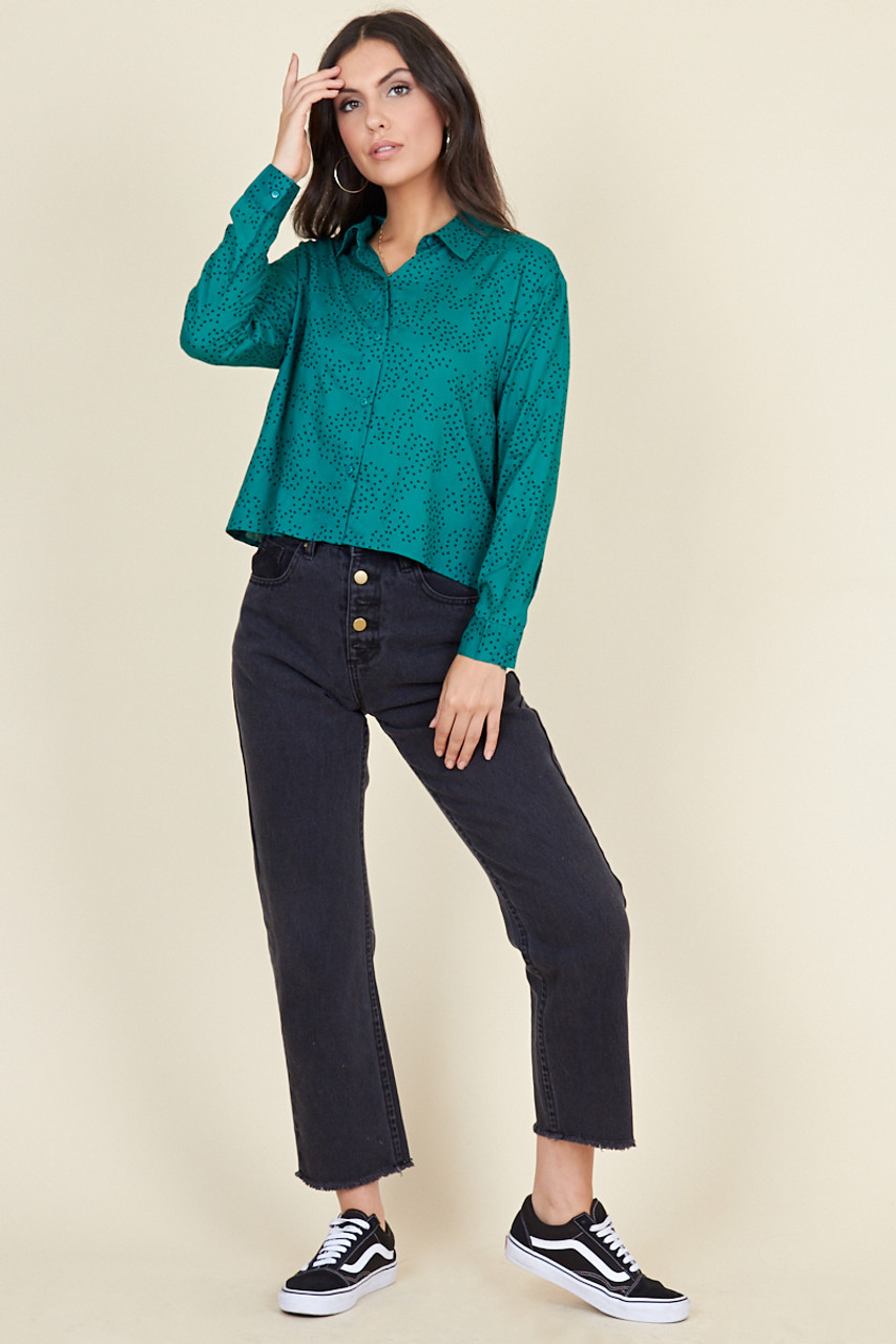 Teal Scattered Heart Cropped Long Sleeve Shirt