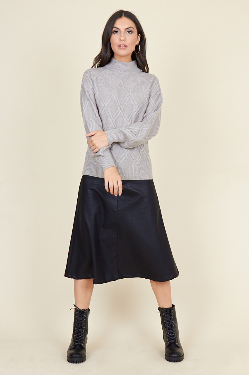 Black Matt Pu Bias Cut Midi Skirt