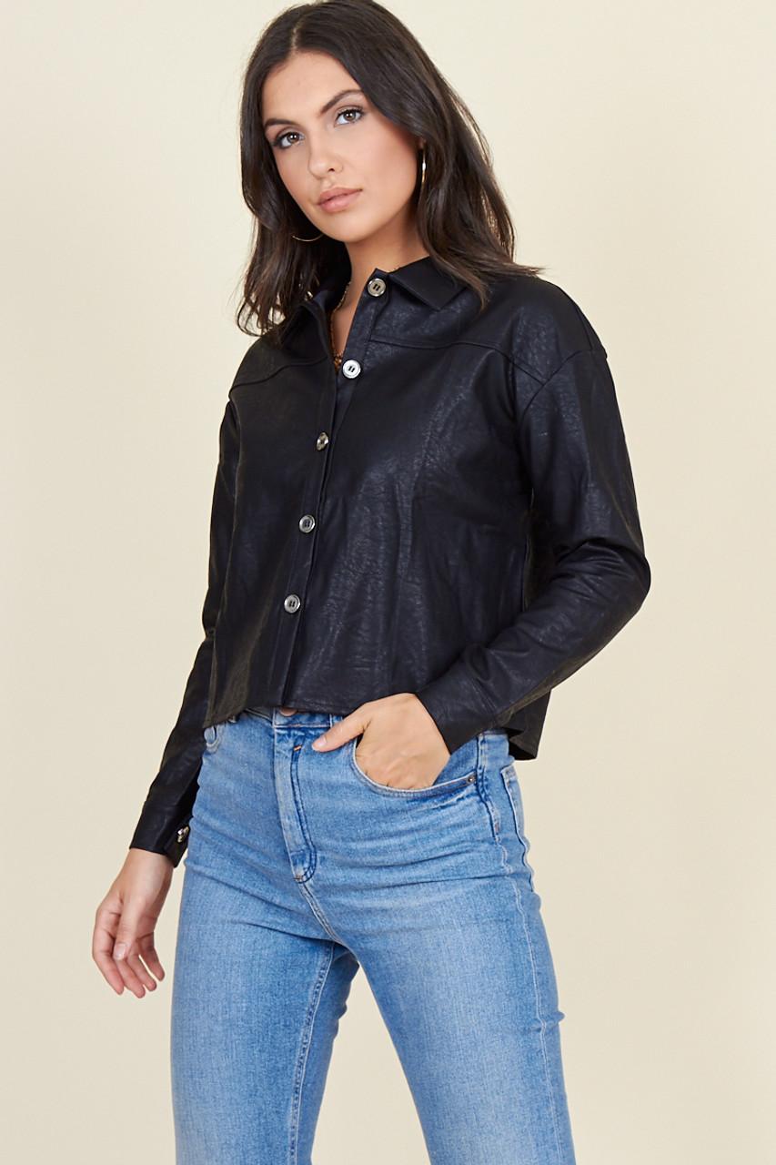 Black Pu Metal Button Boyfriend Shirt